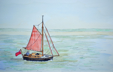 Ink and watercolour painting of vintage sailing boat with red sails