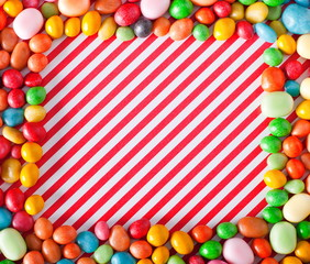 sweet frame on candy background