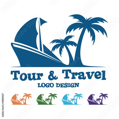 """Tour And Travel Logo, Traditional Ship, Palm, Design Logo ..."