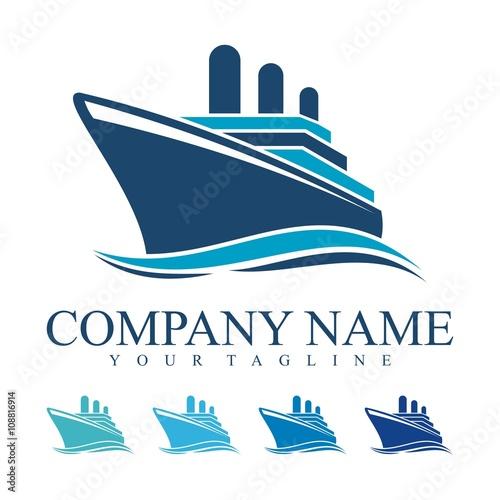 quotship logo cruise ship logo design vectorquot stock image