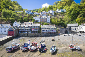 Clovelly harbour Devon England UK beautiful coast village and po