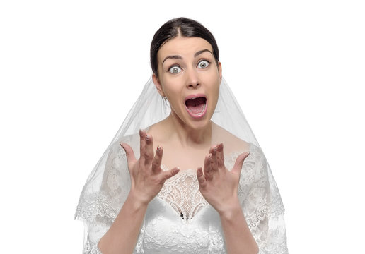 Angry bride isolated.