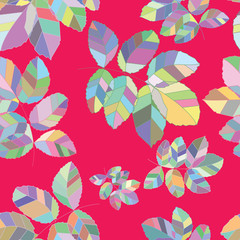 Retro pattern of geometric leaf shapes. Colorful mosaic banner
