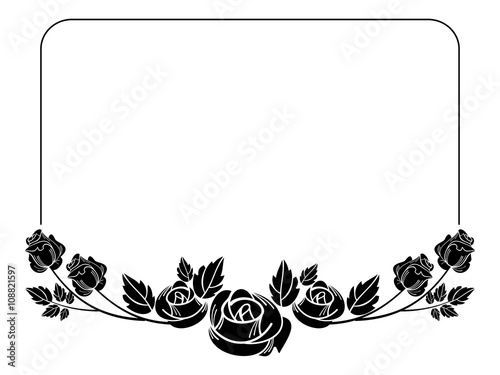 Vintage Horizontal Floral Frame With Roses Silhouette Black And White Vector Design Element For Advertisements