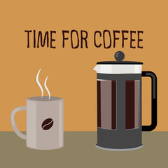 Coffee cup and french press, vector illustration. Flat minimalistic design