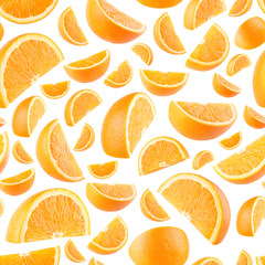 Seamless background with orange slices