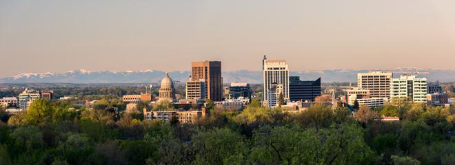 Morning skyline of Boise Idaho in spring