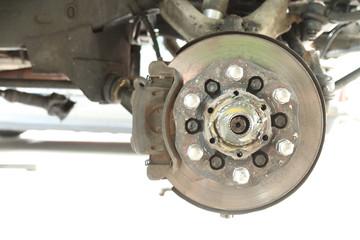 Front disc brake repairing in garage