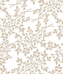 Vector seamless floral pattern with decorative leaves on white background
