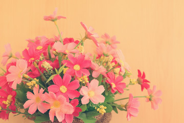 Colorful flowers with soft blur in the pastel vintage retro tone
