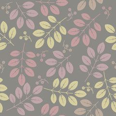 Seamless pattern with decorative spring flowers and leaves