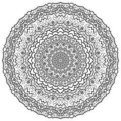 Mehndi mandala tracery wheel design. Handmade natural mood texture. Paisley, winding stem, bud mehendi doodle. Curved lines, doodling design. Good for plates, dish, tableware. Vector.