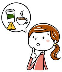 イラスト素材:妊婦 出産 準備 コーヒー 注意