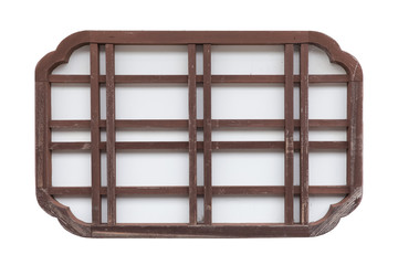 Japanese wood window frame isolated on white background