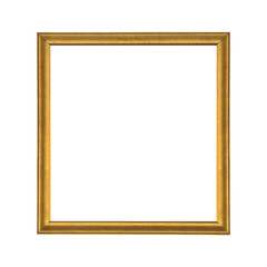 Gold wooden picture frame isolated on white background