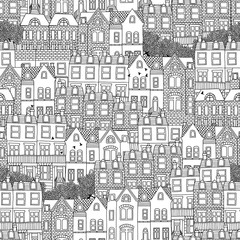 Hand drawn seamless pattern of British style houses
