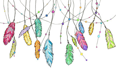 Hand drawn sketch feathers of dream catcher.