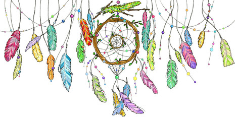 Watercolor dream catcher with bright colorful feathers swinging