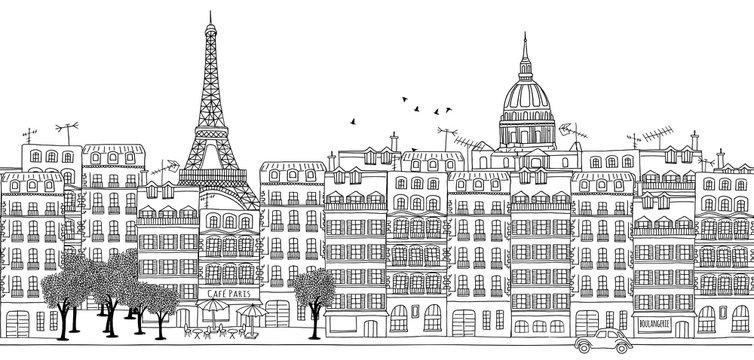Seamless banner of Paris skyline, hand drawn black and white illustration