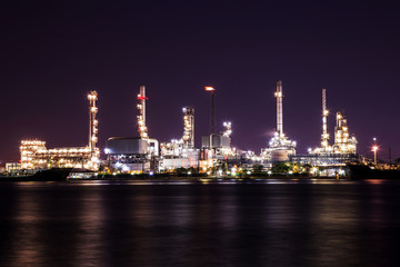 Oil refinery industry plant in the night.