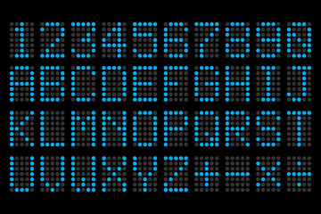 digital blue letters and numbers display board for airport sched