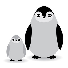 Funny penguins on white background. vector