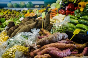 étalage de légumes