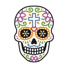 Decorated skull / calavera celebrating Day of the Dead line colorful art icon / illustration