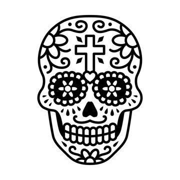 Decorated skull / calavera celebrating Day of the Dead line art icon / illustration