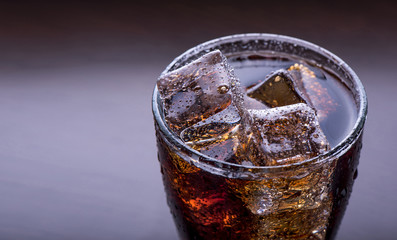 Close up on a soft drink with ice