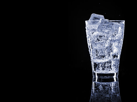 Cold refreshing soft drink with ice