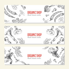 Hand drawn sketch vegetables banner, Vector illustration mushroom, olive, pepper, onion isolated on white, Ideal for use in organic food industry, healthy green food market, vegetarian restaurant menu