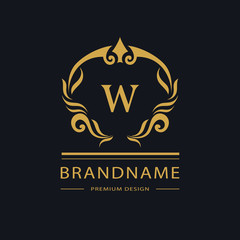 Luxury Vintage logo. Business sign, label, Letter emblem W for badge, crest, Restaurant, Royalty, Boutique brand, Hotel, Heraldic, Jewelery, Fashion, Real estate, Resort, tattoo, Auctions. Vector