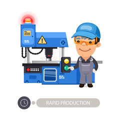 Worker and Milling Machine