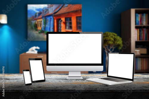 Computer display, laptop, tablet and smart phone responsive