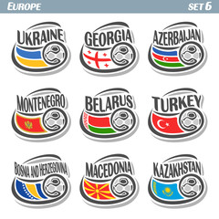 Vector logo for European football, soccer Ukraine, Georgia, Azerbaijan, Montenegro, Belarus, Turkey, Bosnia and Herzegovina, Macedonia, Kazakhstan, set state flags, soccer balls. Championship Euro