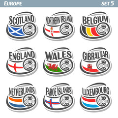 Vector logo for European football, soccer Scotland, Northern Ireland, Belgium, England, Wales, Gibraltar, Netherlands, Faroe Islands, Luxembourg, isolated: state flags, soccer balls. Championship Euro