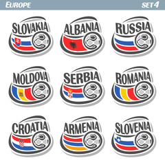 Vector logo for European football, soccer Slovakia, Albania, Russia, Moldova, Serbia, Romania, Croatia, Armenia, Slovenia, set 9 isolated illustrations: state flags, soccer balls. Championship Euro