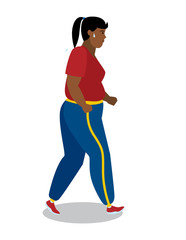 Fat african american girl running with sweat.