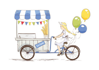 Ice cream on bicycle./ Vector illustration on the theme of street food.