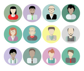 Office workers avatars on white background.