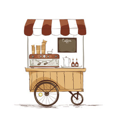 Coffee house on wheels./ Vector illustration on the theme of street food.