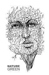 The image of nature. Face in the branches. Spring. Vector illustration