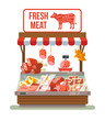 Fresh meat. Butcher shop. Shop with meat. Showcases with meat. Best meat. Red meat shop. Street market with meat. Vector flat cartoon illustration
