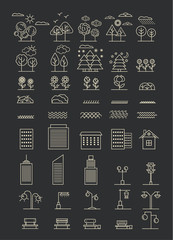Linear landscape elements vector icons illustration black set