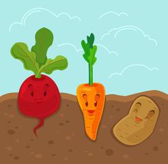 Cartoon funny vegetables. Vector flat illustration