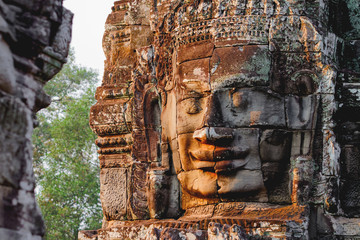 Poster Temple Towers with faces in Angkor Wat, a temple complex in Cambodia