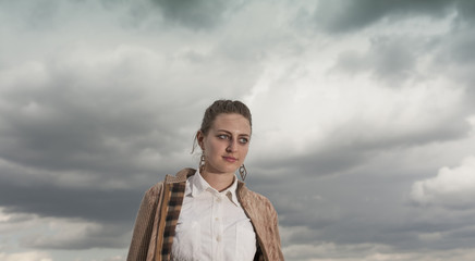 Portrait of girl just before storm