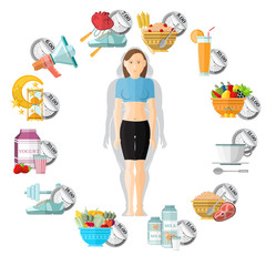 flat illustration weight loss. Slender girl in the middle of clock face with different icons of her routine day on it