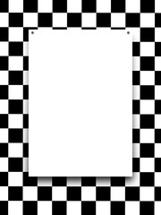 Close-up of one nailed blank frame on black and white checked background